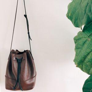 brand new jcrew leather bucket bag